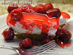 CHERRY CHEESECAKE - easy no bake cherry cheesecake recipe