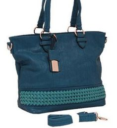 Blue Woven Faux Leather Tote Purse In Stock $45