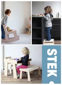 Stek kindermeubilair #dutchdesign  Handgemaakte, stoeren houten meubels die je kind prikkelen om er mee te spelen. Balanceren achter op de schommelstoel, en trapje hoger op de kruk en geheimen verstoppen onder ze zitting.