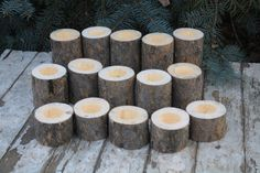 Set of 15 Tealight Candle Holders Rustic Woodland Pine by Adaura, $15.00