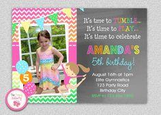 Gymnastics Birthday Invitation  #gymnastics #birthday #thetrendybutterfly