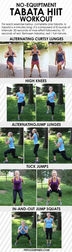No-Equipment Tabata HIIT Workout - 25 minutes long, hundreds of calories torched! #workout #fitness