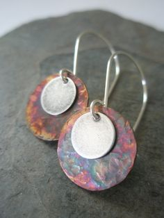 Mixed Metal Earrings, Hammered and Patinaed Copper and Antiqued Silver Disc Earrings