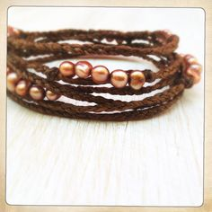 Gold pearls on chocolate cord, wrap bracelet or necklace