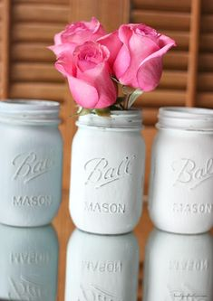 Instant home decor gratification is found when making these painted mason jars. So easy, so beautiful!