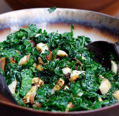 grilled mushroom. bacon. kale.