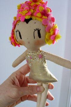 Felt Bathing beauty doll - adorable floral swimming cap!