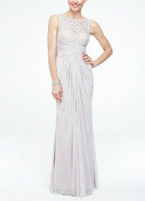 Sleeveless Long Mesh Bridesmaid Dress with Corded Lace, Style F15749. #davidsbridal #bridesmaiddresses #rusticwedding