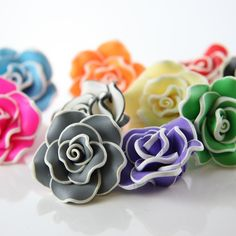 Polymer Clay Flower Beads.