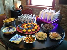 Sonic the Hedgehog B-day party ideas - by Widney Woman    Blue and yellow cupcakes - easy!  Popcorn cones - easy!