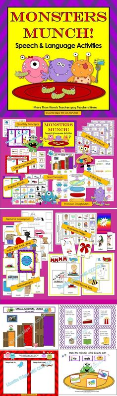 $ More Monsters! Speech Therapy printable activities for syntax, categories, conditional directions, size concepts, articulation, phonological awareness and more! Use this pack alone to target multiple skills, or combine it with my sound-loaded, interactive original story Monsters Munch! Speech Therapy Articulation and Grammar Story or my Monsters Munch! Speech Therapy Prepositions Game Fun for Halloween, Autumn or anytime for monstrously awesome speech therapy..