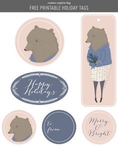 Free Printable Holiday GiftTags from Creature Comforts blog   in partnership with @anthropologie