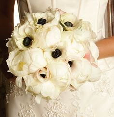 Beautiful anemones and peony bridal bouquet