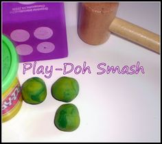Playdough smash!   What a fun game for little ones - and you have everything you need close at hand  :   Roll a dice.  How many playdough circles can you roll and count?  Smash the balls of playdough with a toy hammer - LOTS of fun!