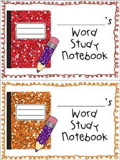 FREEBIE!  Glittery notebook labels!