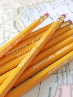 Adventure Awaits Pencil 6 Pack Yellow Back to School by Earmark, $ 8.50
