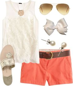 Color Combo por thevirginiaprep usando low heel shoes ❤ liked on PolyvoreJ.Crew lace tank top / J.Crew short shorts / Jack Rogers low heel shoes / J.Crew pearl jewelry / BaubleBar vintage necklace / Hair bow accessory / Ray-Ban aviator sunglasses / Warehouse , $31