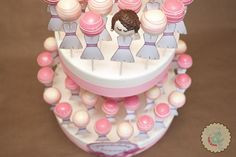 Pink and White Bridal Shower Cake Pops