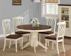 Cameron 5-Piece Cottage Round Pedestal Table & Side Chair Set CODE: CTR-103180