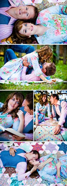Picnic Engagement scrabble book bright