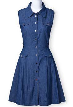 Blue Lapel Sleeveless Buttons Denim Dress. Adorable