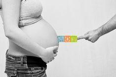 Cute maternity pic= boy blocks