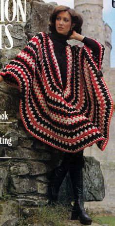 Crochet Poncho 1970's UK Vintage Crocheting PDF PATTERN. $2.50, via Etsy.