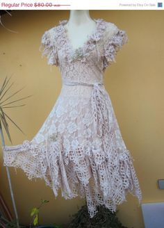 vintage inspired ivory stretch lace dress with shabby crochet ruffles and vintage motifs...