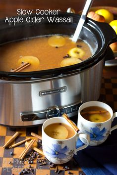 Easy #SlowCooker Wassail Recipe (Mulled Cider) ASpicyPerspective.com #fall #apple #party #recipe