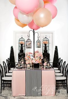 coco chanel, wedding showers, pink, wedding events, head tables, balloon, table runners, parti, bridal showers