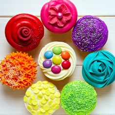 rainbow party- love how each cupcake is decorated differently! cups, catering, colors, party cupcakes, decorated cupcakes, cupcake decorations, rainbow cupcakes, cake designs, parti