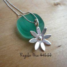 CIJ sale 20 off  925 Silver Flower Necklace by TaliaJewelry