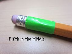 """Fifth in the Middle: Pencil Challenge. """"For each student in every class, I wrapped a piece of brightly-colored duct tape around the end of his/her pencil, near the eraser. The next day, I took """"pencil attendance"""" after taking regular attendance. Anyone who had their taped pencil got a small treat, ie. Dum-Dum sucker or Hershey's Kiss. Then whoever had their pencil every day for the week got a """"check"""" to spend at our school PBIS store."""""""