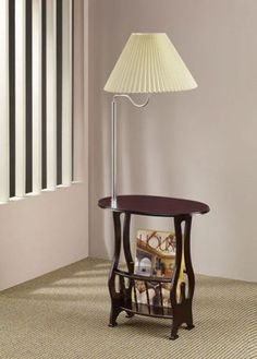 table with attached lamp magazine rack with lamp coaster. Black Bedroom Furniture Sets. Home Design Ideas