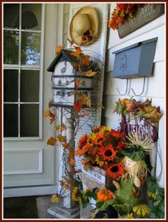 Adding a touch of primitive to your Fall decor holiday, birdhouses, initials, shutter, fall decorating, fall porches, fall gather, halloween, fallautumn