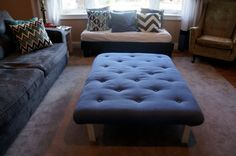 Hack an Ikea Lack table into a tufted ottoman coffee table