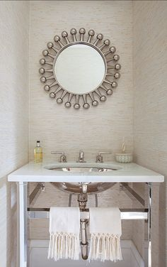 Great powder room design. Vanity is from Kallista. #PowderRoom #Interiors #Vanity #Kallista