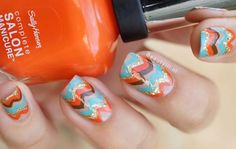 Orange, gold, brown & blue Missoni inspired manicure...x