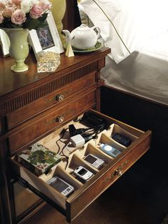 """amazing way to store chargers and also have a discreet, out of the way """"charging station""""!!!  how can i make one like this...."""