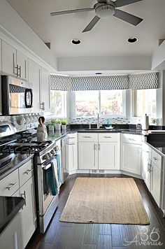 The 36th AVENUE | White Kitchen Makeover rug, kitchen makeovers, kitchen ideas, white cabinets, white kitchens