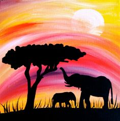 Elephant silhouette in sunset mama and baby 10 x 10 wrapped canvas painting, africa safari
