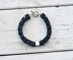 Black Lava Rock Bracelet  Santorini Bracelet  by SunSanJewelry, $43.00