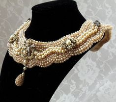 Beaded Bib Bridal Necklace, Vintage faux pearl collar choker, Haute Couture Victorian Bride, OOAK Luxury Costume Jewelry