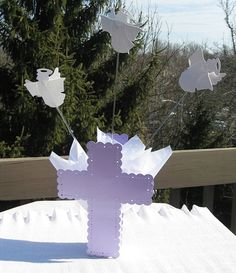 Angels & Cross Centerpieces for Baptism or Christening with Lavender, Pink, Light Blue or Silver Cross and White Angels by SetToCelebrate, $17.95 - Great for outdoor parties where balloons will blow and get tangled!
