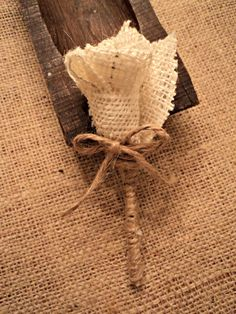 Burlap Boutonniere Rustic Wedding. Good idea for decorating, too