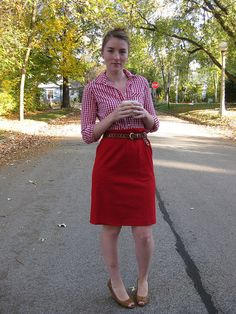 Not quite sure why I like this red gingham outfit...but I do!