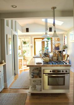 stove, house tours, vintag comfort, apart therapi, chad vintag, oven, comfort hous, island lighting, kitchen islands