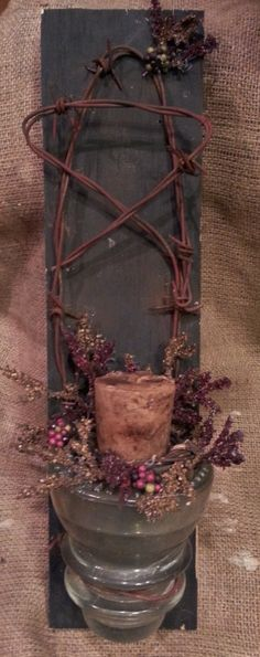 insulator barbed wire star grungy candle holder