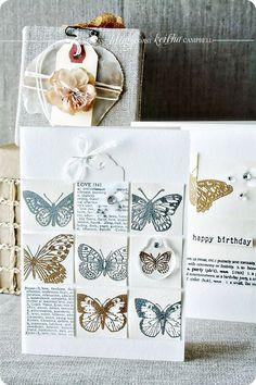 squar, birthday, tag, card, butterfli emboss