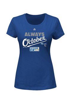 Kansas City Royals T-Shirt - Royal Royals Always October Short Sleeve Tee http://www.rallyhouse.com/shop/kansas-city-royals-majestic-17251336 $23.99